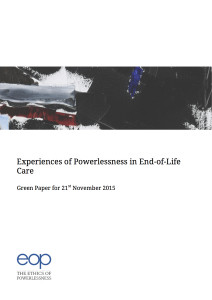 Experiences of Powerlessness in End of Life Care Green Paper Title Page