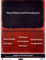 Moral Distress and Powerlessness – 23rd February 2018